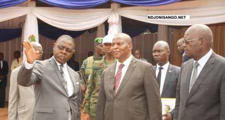 Le ministre des finances, Dondra, le président Touadera, le PM Sarandji@Eric Ngaba