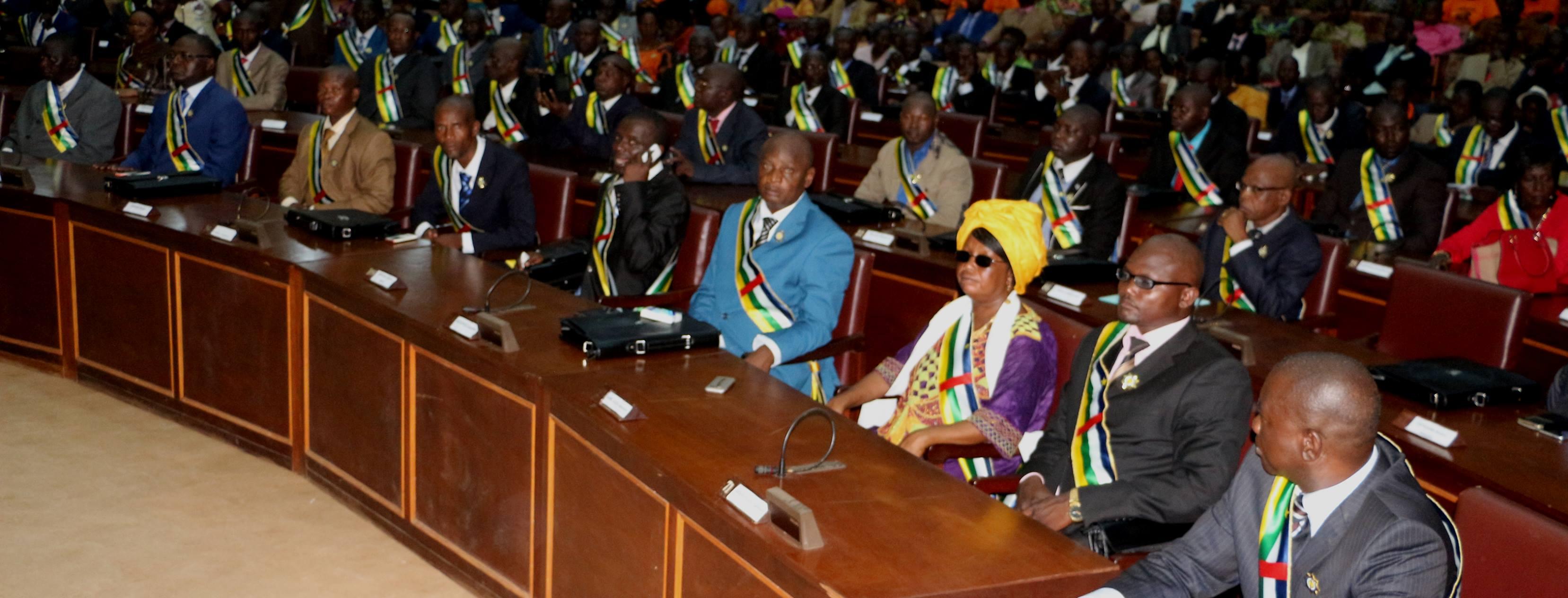 Les députés dans l'hémicycle du parlement centrafricain