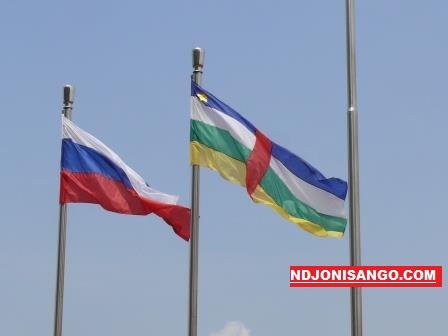 les couleurs de la Russie et de la Centrafrique
