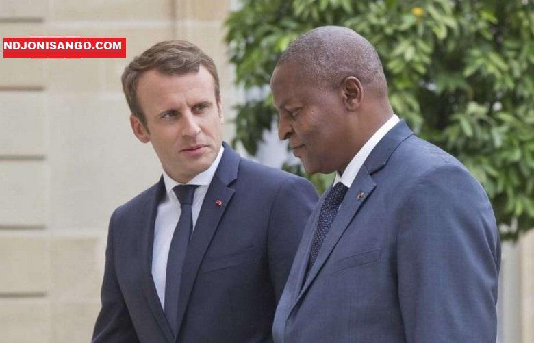 le président français Emmanuel Macron_et son homologue centrafricain Faustin Archange Touadera à Paris