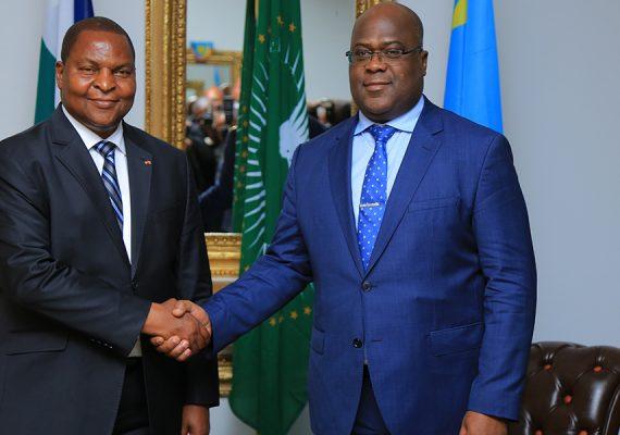 le président centrafricain et son homologue Félix Tshisekedi à Kinshasa