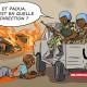 Caricature illustrant la patrouille de la Minusca