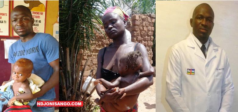 L'enfant sauvé de la fosse septique avec le médecin Gbayanguele et sa mère@photo Erick Ngaba