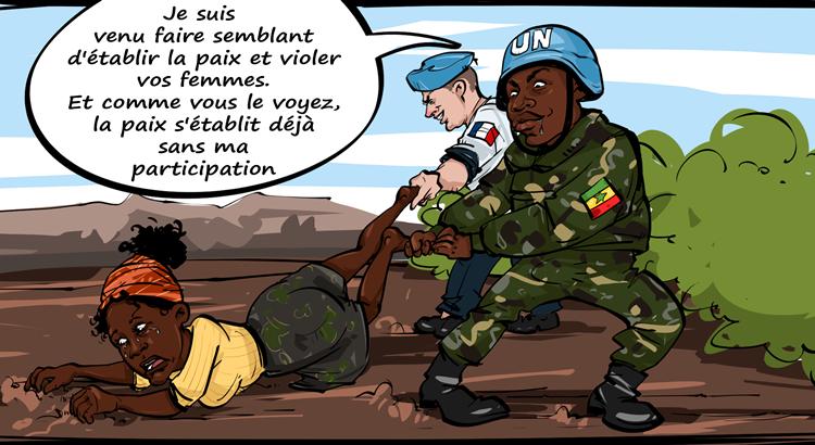 Les soldats de la Minusca à Bangui vue par la caricature