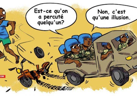 La scène de l'accident des casques bleus à Bria vue par la caricature de Ndjoni Sango