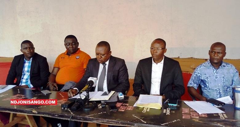 Les membres du bureau de Synergie Centrafricaine en conférence de presse