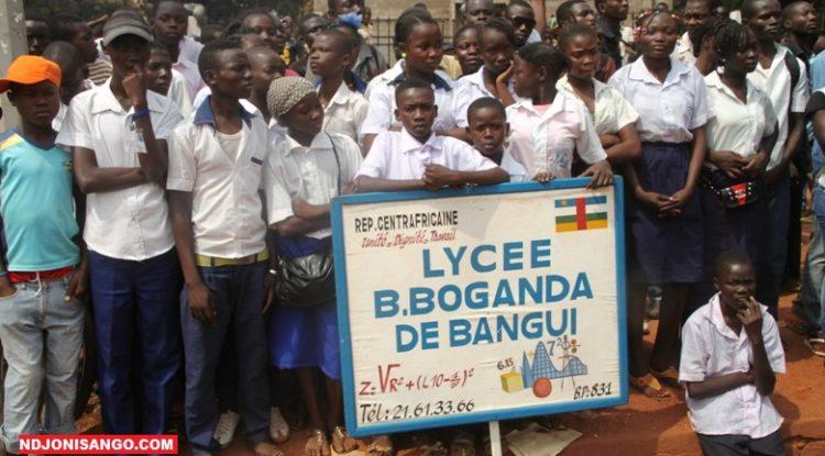 Les élèves du lycée Barthélémy Boganda lors de la commémoration de la journée des Martyrs en 2017