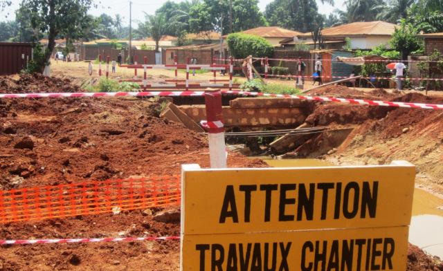 les travaux routiers sur l'avenue de france à Bangui