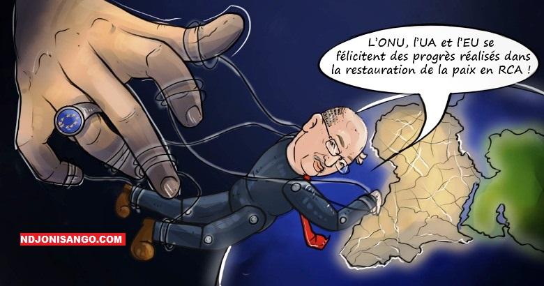 Caricature illustrant le téléguidage de l'Union africaine par l'occident@ caricature Ndjoni Sango