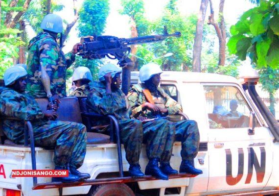 Les casques de la Minusca à Bangui @photo Erick Ngaba