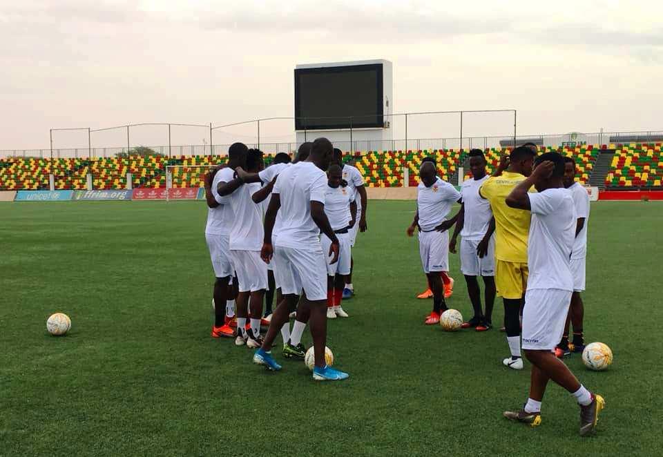 Les fauves centrafricains de football en entrainement au stade de Nouakchott@photo Fridolin Wambombo