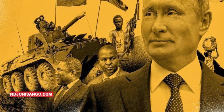 Vladimir Poutine et Faustin Archange Touadera en image de fond