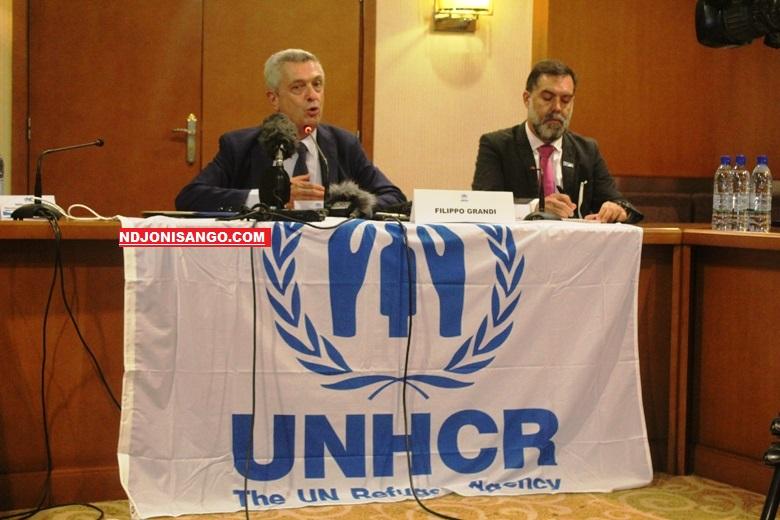 Filippo Grandi, haut commissaire de UNCHR en conférence de presse à l'hôtel Ledger de Bangui@photo Marly Pala