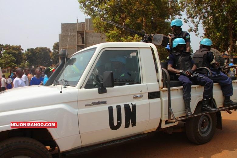 Les casques bleus de la Minusca en patrouillle dans Bangui@photo Erick Ngaba