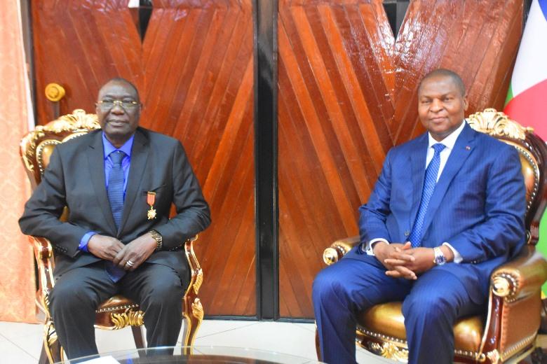 Audience de l'ancien président centrafricain Michel Djotodia  avec le président Faustin Archange Touadera