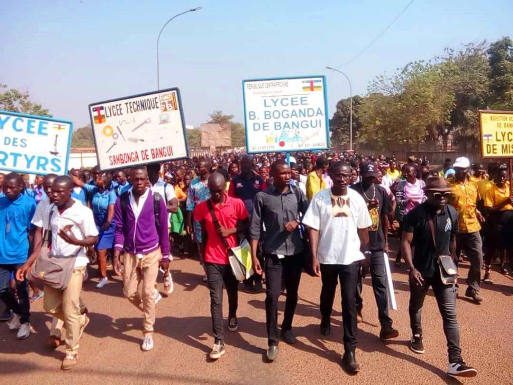 marche des leaders jeunes à Bangui pour la paix en RCA@photo Marly Pala