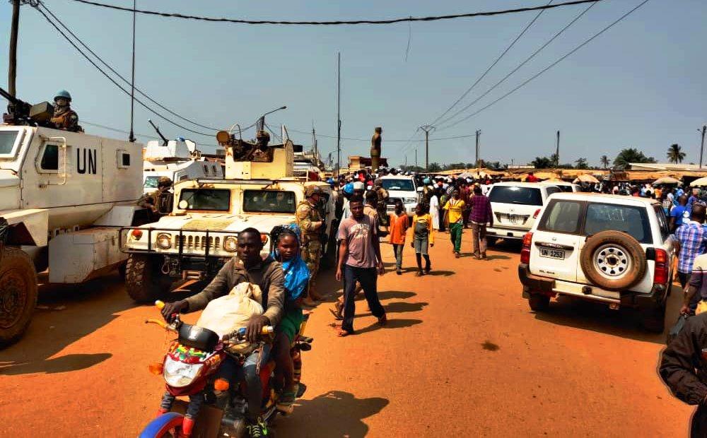 Une vue du marché PK5 lors d'une concernation conjointe gouvernement, Minusca et habitants du 3è arrdt de Bangui@photo Minusca
