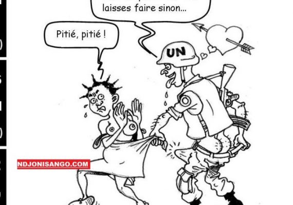 Caricature schématisant la scène de viol sur mineure par un casque bleu onusien en Centrafrique
