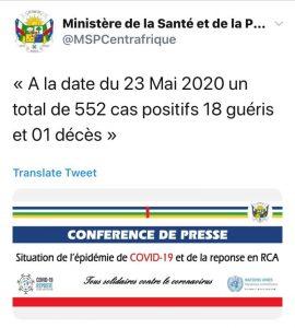 Centrafrique-Décès-covid-19-Ndjoni-Sango